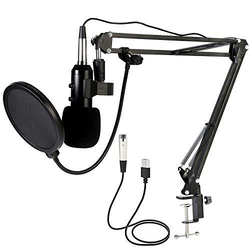 Koolertron Micrófono Condensador,USB Micrófono para PC Profesional,Podcast Microfono con Ajustable Suspensión Brazo de Tijera Soporte Double-layer Filtro pop para Grabación Vocal,Grabación de Estudio