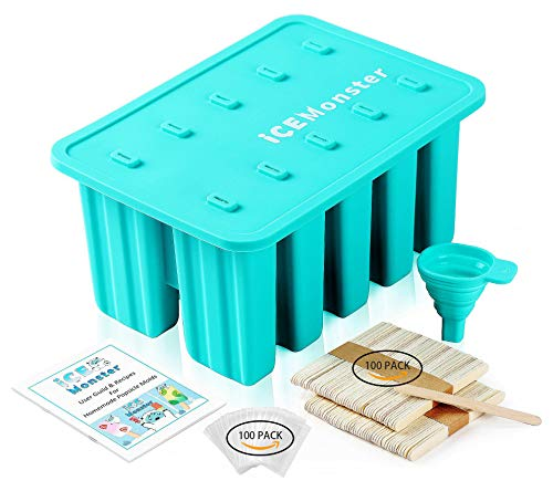 Ice Monster Silicone Popsicle Molds - Homemade Popsicles Molds For Kids Popsicle Mold Food Grade Silicone BPA Free Ice Pop Molds Frozen Pop Tray 100 Popsicle Sticks 100 Popsicle Bags Funnel Recipes