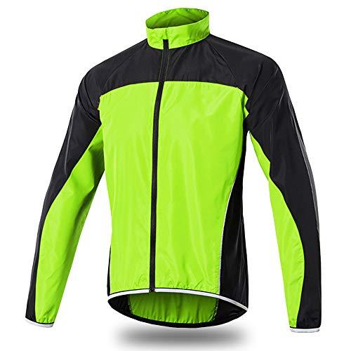 Radjacke Herren Reflektierende Wasserdicht Fahrradjacke Atmungsaktiv Laufjacke Mountain Bike Radlerjacke Outdoor Fahrradoberbekleidung, Hohe Sichtbarkeit,Grün,XL