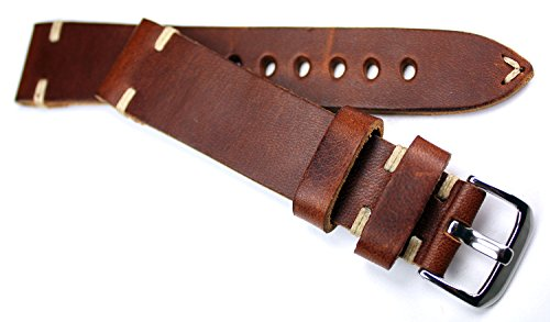 RIOS 1931 20mm Herren Leder Deutsch Uhrenarmband Vintage Flieger Retro Look braun