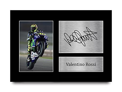 HWC Trading Valentino Rossi A4 Sin Marco Regalo De Visualización De Fotos De Impresión De Imagen Impresa Autógrafo Firmado por Superbikes Los Aficionados De Motogp