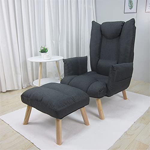 BSLY Modern Fabric Armchair with Footstool - 5 Grades Adjustable Sofa Chair Tatami Floor Lounger - Meditation/Reading Chair - for Bedroom Living Room Office Lounge