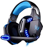 Gaming Headset Yongf G2000 For PS4 XBOX ONE Bass Over Ear Headphones With Microphone LED Lights And Volume Control For PC, Mac, Laptop, IPad, Computer, Mobile Phones - Blue (G2000 Blue) Comfortable