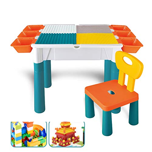 Multi-Purpose Activity Table, 5 in 1 Children'S Double Panel Building Table Compatible with Building Puzzle Learning Toy Desk, with 6 Storage Bucket 1 Connection Block