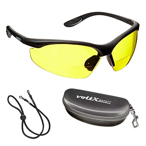 voltX 'CONSTRUCTOR' BIFOCALE VEILIGHEIDSLEESBRIL met Veiligheidskoffer (GEEL +2.0 Dioptrie) CE EN166F Gecertificeerde/Fiets- of Sportbril inclusief veiligheidskoord + UV400 lens met anti-mist coating