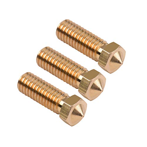 Aibecy Extruder Brass Nozzle M6 Thread Printer Head 0.2mm Output for Sidewinder X1 TEVO Little Monster 1.75mm Filament, 3pcs