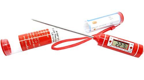 AVAX (TM) DT-7-termometro alimentare con schermo digitale LCD da cucina con sonda per carne, bistecche, tacchino, barbecue, Yerba Mate, birra e vino da casa &, ecc., intervallo di temperatura: da-50 °C  a 300 °C , con custodia di protezione), batteria inclusa