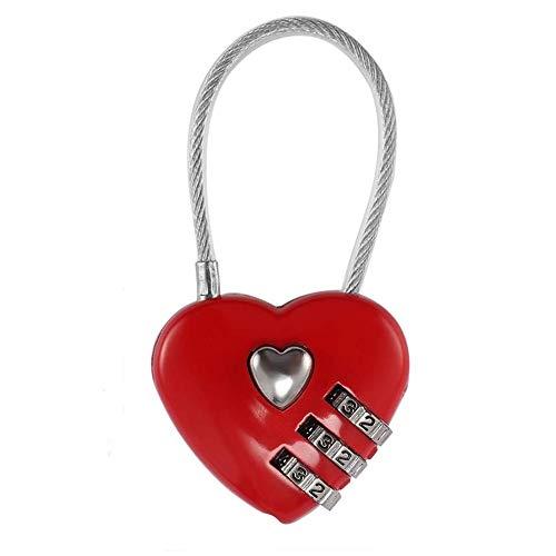 リタプロショップ? ハート型 ケーブルロック 南京錠 レッド ワイヤーロック かわいい おしゃれ 鍵 ロック