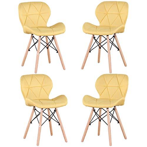 Injoy Life - Juego de 4 sillas de comedor modernas con patas de madera maciza, estilo retro, tela de lino, para sala de estar, comedor, dormitorio, oficina, cafetería, color amarillo