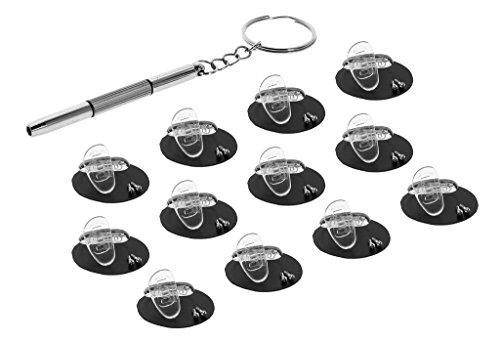 Eyekepper 15 mm D-vormig geschroefd zachte siliconen brillen neuspads/Bonus Mini 3 in 1 roestvrijstalen schroevendraaier transparant