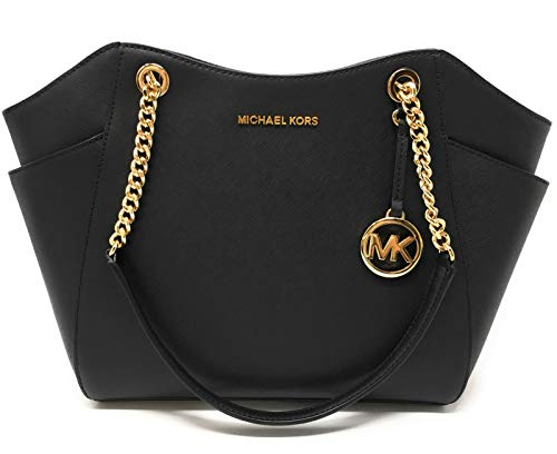 "MK signature & Leather Double handles w/ leather & chains. Top zip closure MK Strap Logo, detail on front Exterior side pockets. Interior: 1 zippered pocket & 4 slip pockets Michael Kors signature lining. Measures 11""-14""L x 10.5""H x 4.5"" D. IMPORTAN..."