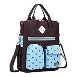 シンプルなファッションの女性のバックパック| キッズスクールトート、コーヒーガールズボーイズ子供のショルダーバッグランチボックスバッグ用ドット印刷キッズメッセンジャーバッグクロスボディバッグ