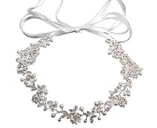 [KimBerley] 小枝 リボンカチューシャ シルバー ワイヤー ヘアアクセサリー ヘッドドレス ウェディング ブライダル 結婚式 花嫁 髪飾り