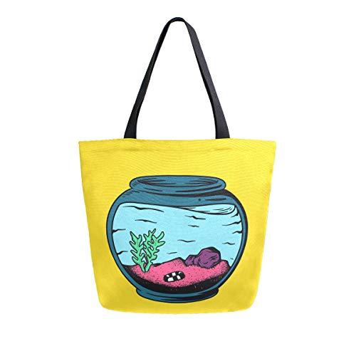 Leere Aquarium-Pflanzen-Tragetasche, groß, Schultertasche für Damen und Mädchen, Einkaufstaschen, wiederverwendbar, Segeltuch
