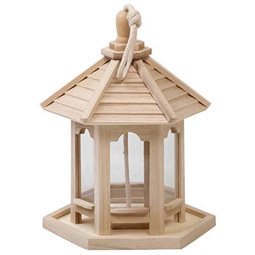 Baluue Comedero para Pájaros Colgante de Madera para Exterior Casita para Pájaros en Forma de Hexágono con Techo para Gorrión Loro Jardín Decoración Exterior (Color de Madera 20X21x26cm)