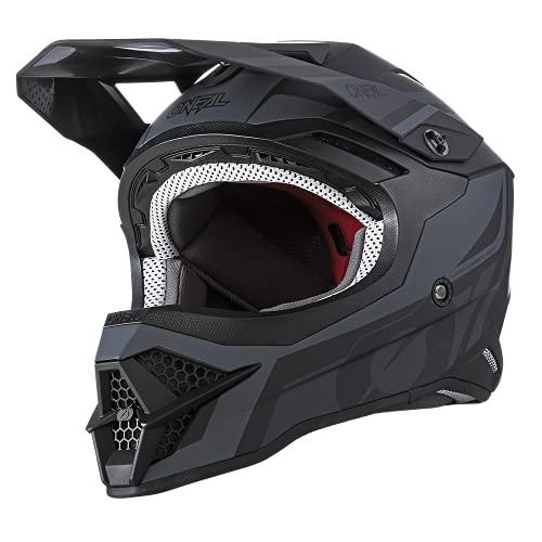 O'NEAL | Motocross-Helm | MX Enduro Motorrad | ABS-Schale, Sicherheitsnorm ECE 22.05, Lüftungsöffnungen für optimale Belüftung & Kühlung | 3SRS Helmet Hybrid | Erwachsene | Schwarz Grau | Größe S