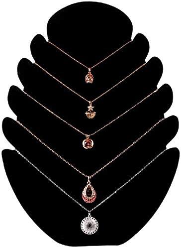 KEEBON Soporte de exhibición de Joyas Soporte Colgante con 5 Muescas para Cadenas, Collar de Terciopelo Organizador de exhibición de la joyería, Caballete de joyería (Color: Gris, Tamaño: Un tamaño)