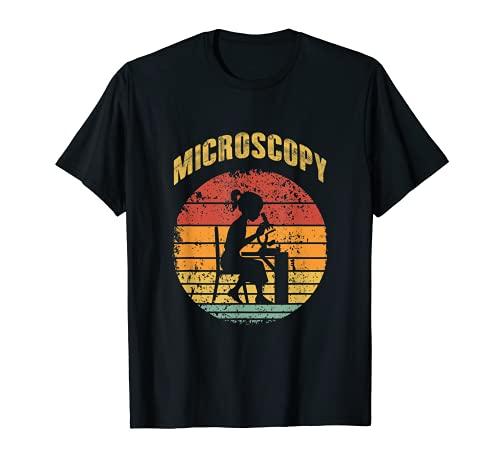 Microscopía Microscopio Ciencia Microbiología Diseño Camiseta