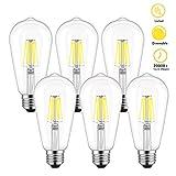 ST58 Vintage LED Edison Bulbs 60W Equivalent, Daylight White 4000K, Kohree Dimmable LED Filament Light Bulbs 6W, E26 Base Bulbs for Home, Restaurant, Reading Room, 6 Pack