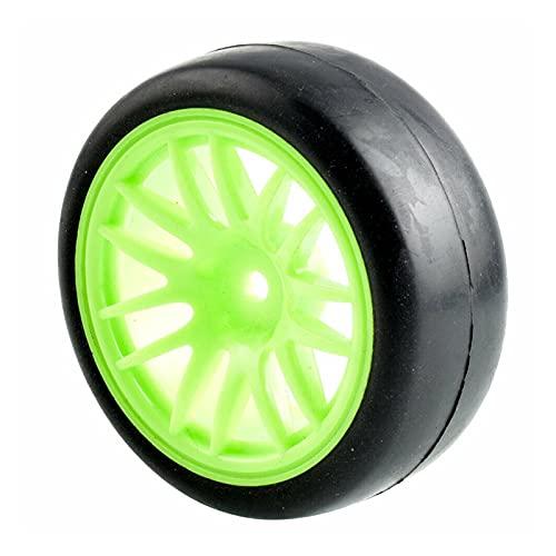 VSKTE Los Juegos de Ruedas de los neumáticos de Carreras Slick Aptos para HSP HPI 1/10 1.10 Auto turístico (Color : Green Wheel)