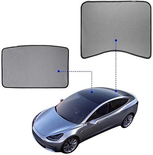 CHUTD auto zonnescherm auto zijvenster auto venster schaduwen - ademend gaas tinten, glazen dak zonwering Sunroof Sunshade Compatibel (Front + achter)