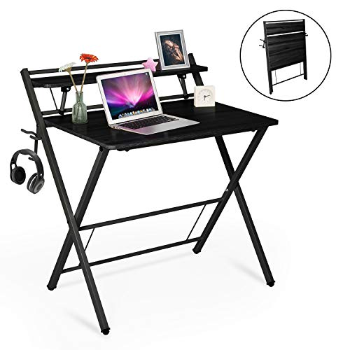 Folding Desk for Small Spaces, 32 Inches Modern Laptop Table, 3 Steps Assembly, Multifunctional Study Writing Computer Desk Workstation for Home Office Use with Shelf, Cup & Headphone Holder (Black)