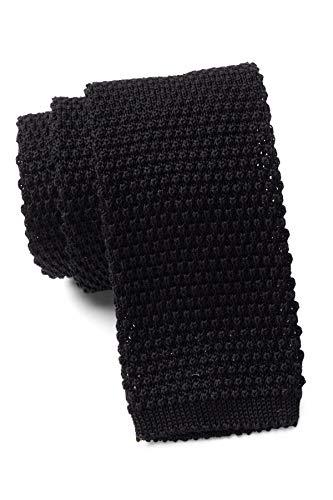 Hugo Boss Hombres negro 100% lana virgen estrecho punto flaco cuello corbata 5cm