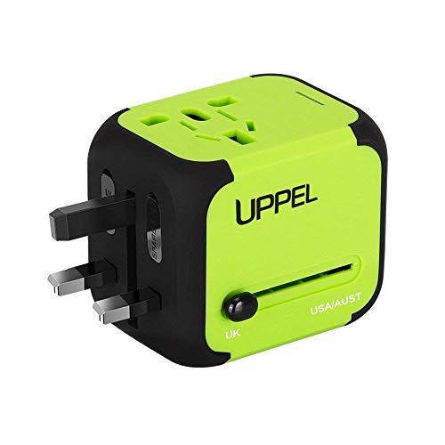 UPPEL Reiseadapter Universal Stromadapter Steckdosenadapter Reisestecker mit Doppel USB-Ports für Europa UK AUS USA CN Universal fusionierten Sicherheit AC-in Einem Ladegerät (Grün)
