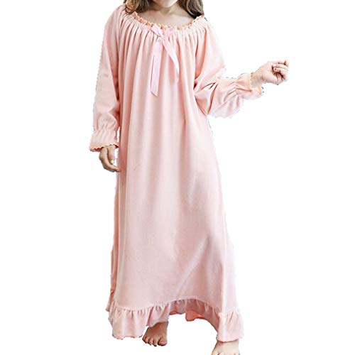 Ni/ña Manga Larga Pijama de Algod/ón de Vestido de Noche Camisones para Ni/ñas Blanco,90-150 Cm