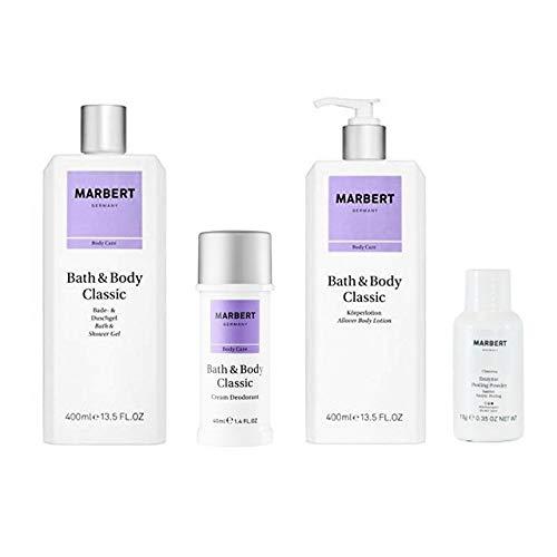 Marbert Bath & Body Classic Duschgel 400ml + Body Lotion 400ml + Deodorant 40ml+ Enzyme Peeling Puder 10 g Gratis