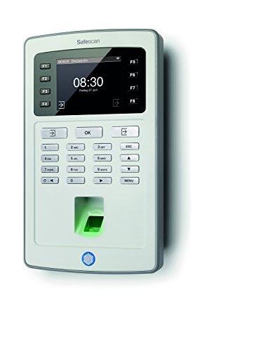 Safescan TA-8035 Zeiterfassungssystem mit RFID Kartenleser und Fingerprintsensor Komplett System inklusive Software, Daten Export über WLAN, grau