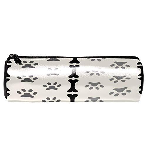Stifteetui mit Hundepfoten-Motiv, PU-Leder, stilvoll, einfach, robust, kompakt, mit Reißverschluss, für Mädchen und Jungen