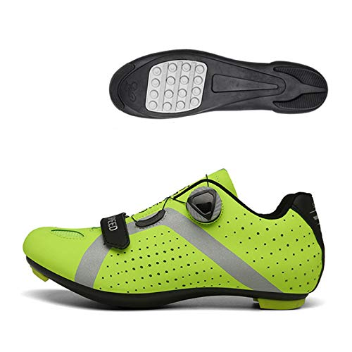 KUXUAN Calzado De Ciclismo para Hombre,Calzado De Ciclismo Sin Candado Invierno Calzado Deportivo De Montaña Y Carretera para Hombre Y Mujer Calzado De Refuerzo para Bicicleta,Green-42EU