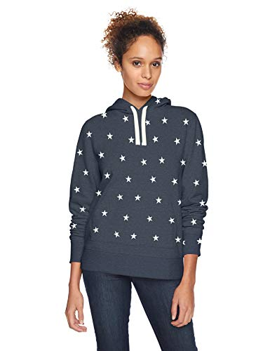 Amazon Essentials French Terry Fleece Pullover Hoodie Athletic, Navy Heather Star, Large