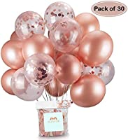 Konfetti ballonger med roséguld 12 tum för bröllop, födelsedag, baby shower, examen, ceremoni festdekorationer...