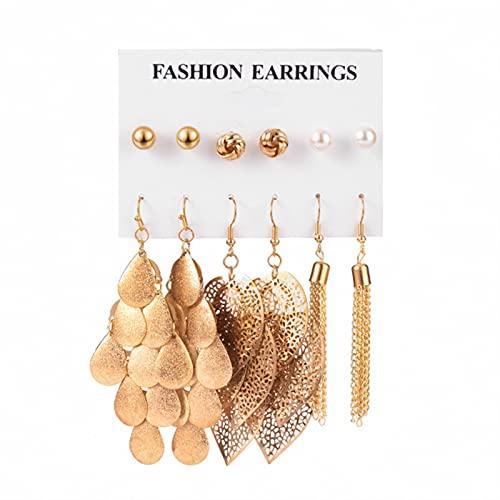 CXWK 12 par/Set de Pendientes para Mujer, Pendientes de botón para Mujer, joyería de Moda Bohemia, Pendientes de Perlas de Cristal geométricos Vintage