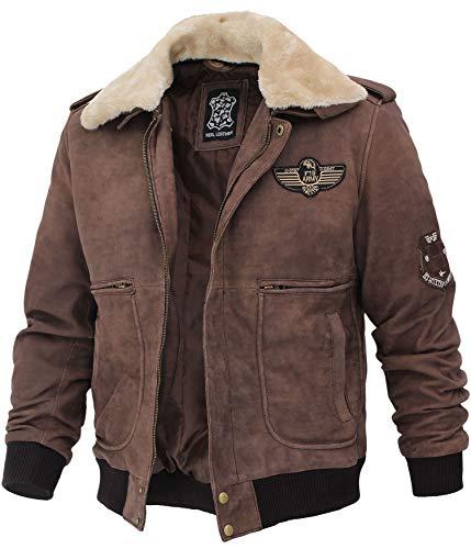 Blingsoul Men's Shearling Jacket Brown Leather Swedish Bomber Jacket | [1108954] Pierson, L