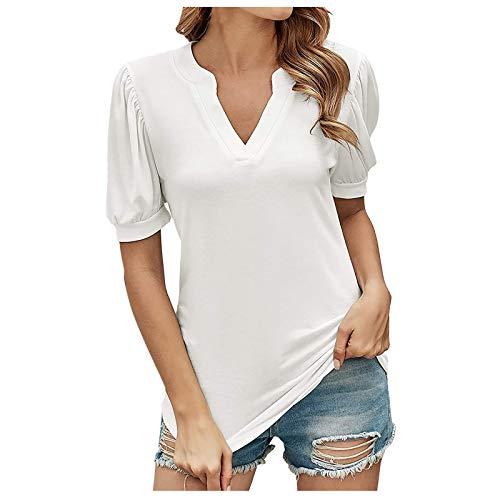 Camiseta de verano para mujer, elegante, de manga corta, informal, deportiva, con cuello en V, para adolescentes y niñas, Blanco A., L
