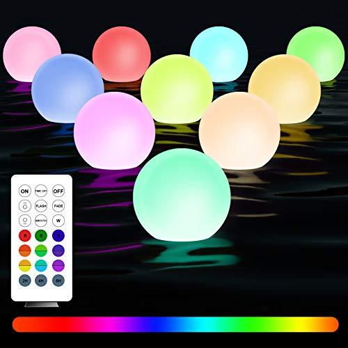 StillCool Floating Pool Lights - Juego de 6 luces LED con temporizador de color RGB con luces IP67 impermeable, para baño de snorkel para decoración exterior e interior