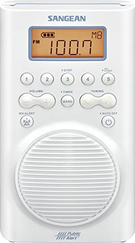 Sangean H205 AM/FM Weather Alert Waterproof Shower Radio White