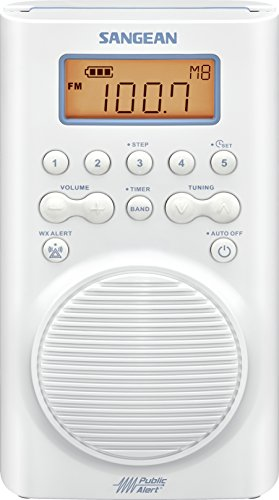 Sangean H205 AM/FM Weather Alert Waterproof Shower Radio