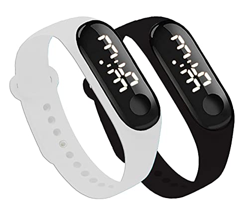 Xtime Slim Digital Led Bracelet Band Watch (Black Dial and White & Black Colored Strap) for Boys and Girls Combo Pack of 2