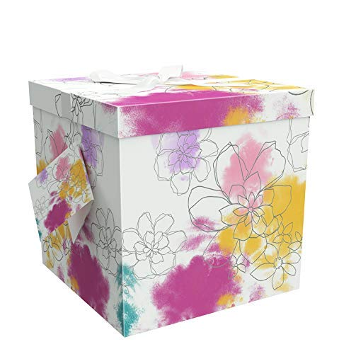 EndlessArtUS Gift Box 9x9x9 Carmen Pop up in Seconds Comes with Decorative Ribbon Mounted on The lid A Gift Tag and Tissue Paper - No Glue or Tape Required