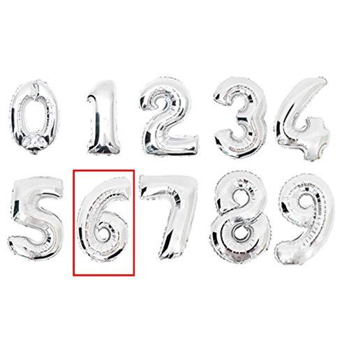 DW4Trading® Cijfer ballon 6 zilver