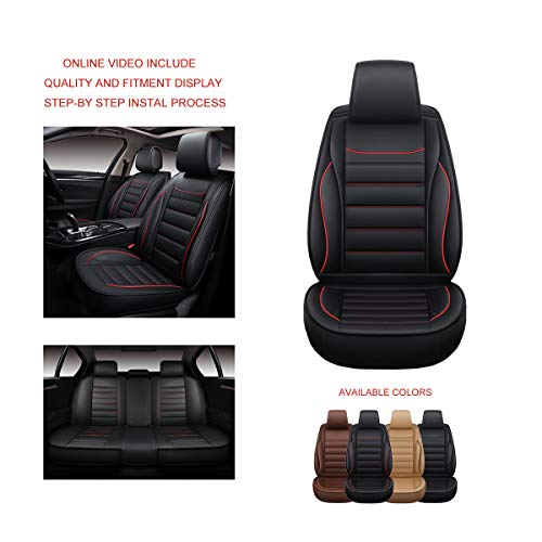 OASIS AUTO OS-005 Leather Universal Car Seat Covers Automotive Vehicle Cushion for Sedan, SUV and Small Pick-Up Truck Compatible with Toyota-Nissan-Honda-Jeep-Subaru (RED Trim, Full Set)