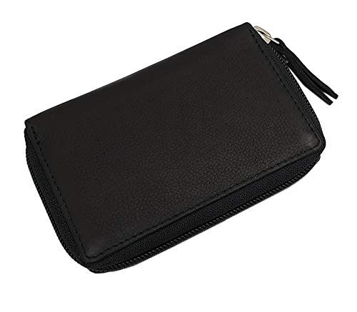 Leather Credit Card Case with 13 Pockets 7cm x 1.5cm x 11cm with RFID & NFC Blocking in Black