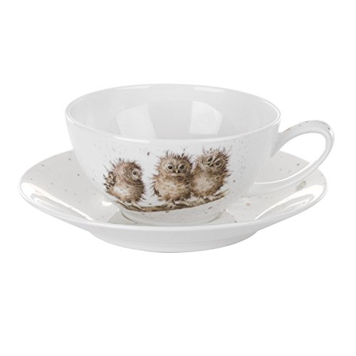 Wrendale by Royal Worcester, Tazza da Cappuccino, Motivo: Gufi e piattino, Set di 1