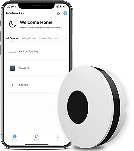 Intelliworks WiFi IR Control Hub Smart Home Universal Blaster Infrared Repeater Hub Wireless Remote Control via Smart Life/Tuya APP Compatible with Alexa Google Home IFTTT and No Hub Required (White)