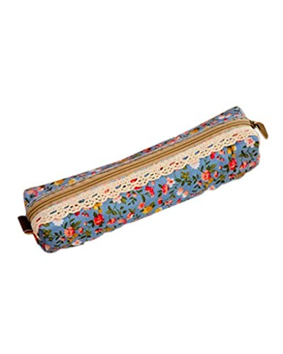 SAMGU Polka Dot Fleur Dentelle Florale Pencil Case Pen Sac Sac de Maquillage cosmétique Sac Pochette Couleur Light Blue