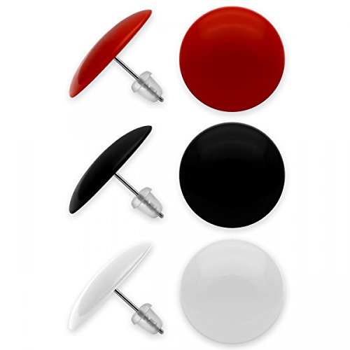 SoulCats® 3er Set runde Ohrstecker in schwarz, rot und weiß, aus Acryl mit Edelstahlstift, Ø ca. 20 mm